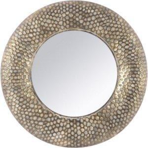 Antique Gold Round Honeycomb Mirror - Shaws