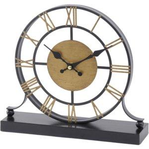 Black and Antique Brass Skeletal Mantel Clock - Shaws