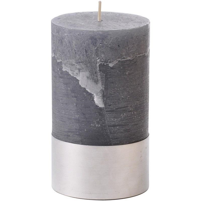 Dark Grey Rustica Pillar Candle 7x12cm- Shaws Interiors