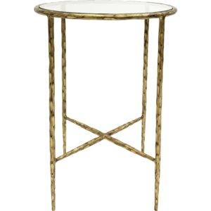 Hand Forged Side Table Aged Champagne with Glass Top - Shaws
