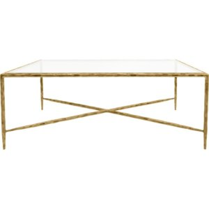 MTO Patterdale Hand Forged Rectangular Coffee Table Aged Champagne, Glass Top - Shaws