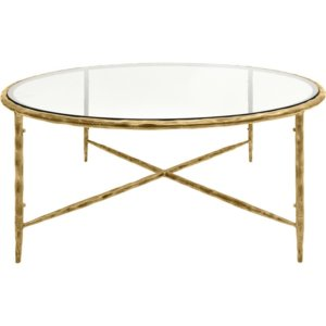 MTO Patterdale Hand Forged Round Coffee Table Aged Champagne Finish, Glass Top - Shaws