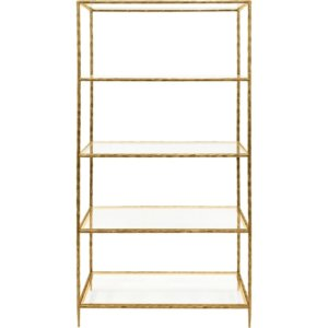 MTO Patterdale Hand Forged Shelving Unit Table Aged Champagne with Glass Shelves - Shaws