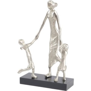 Mother Playing with Children Silver Sculpture