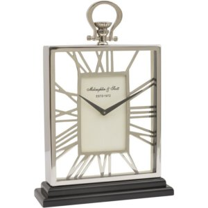 Silver and Black Skeletal Mantel Clock - Shaws